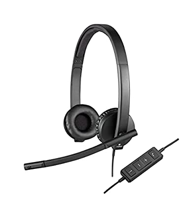 Logitech H570e Wired Headset, Stereo Headphones with Noise-Cancelling Microphone, USB, In-Line Controls with Mute Button, Indicator LED, PC/Mac/Laptop - Black by Logitech