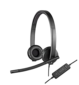 Logitech H570e Wired Headset Stereo Headphones with Noise-Cancelling Microphone USB in-Line Controls with Mute Button Indicator LED PC/Mac/Laptop - Black