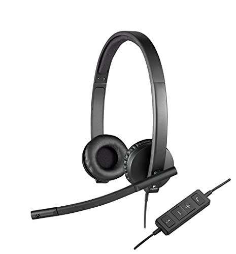 Logitech H570e Kopfhörer mit Mikrofon, Stereo-Headset, Rauschunterdrückung, Lautstärkeregelung und Stummschaltung mit LED-Anzeige am Kabel, Ohrpolster aus Kunstleder, USB-Anschluss, PC/Mac/Laptop
