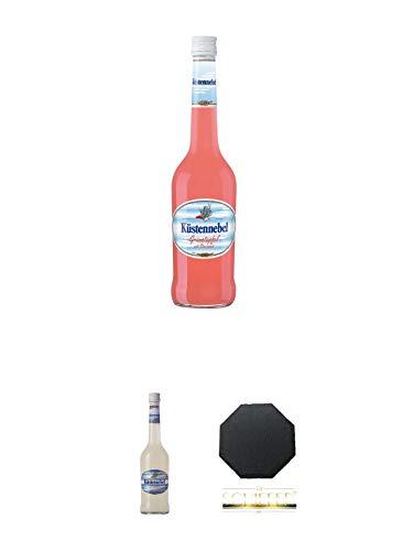 Küstennebel Granatapfel mit Sternanis 0,5 Liter + Küstennebel Sternanis Likör mit Korn 0,5 Liter + Schiefer Glasuntersetzer achteckig ca. 9,5 cm Durchmesser