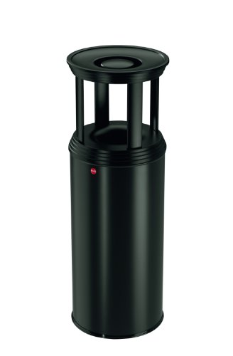 Hailo ProfiLine Safe Plus XL, Ascher-Papierkorb-Kombination aus Stahlblech, abnehmbarer Ascherdeckel, 45 Liter, schwarz, 0950-429
