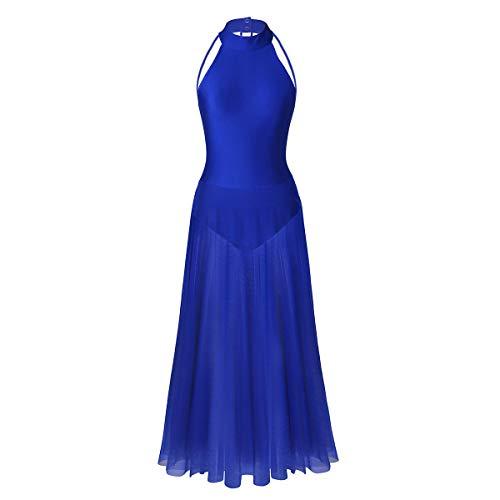 IEFIEL Vestido Largo de Danza Ballet Mujer Niña Traje de Bailarina de Ballet Fiesta Actuacion Tango Latino S-XXL Azul M