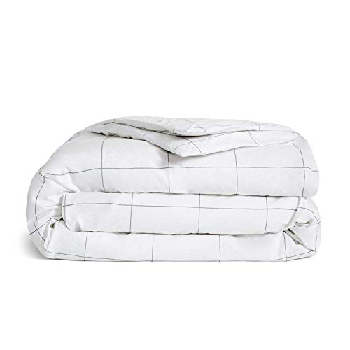 Brooklinen Luxe Duvet Cover for Full/Queen Size Bed, Windowpane (Extra-Long Corner Ties and Button Closure)