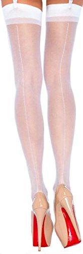 Leg Avenue Damen Straps Strümpfe Nylon 20 DEN One Size Weiß Naht Hinten Transparent Matt Optik ca. 36 bis 40
