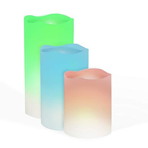 Candele led con telecomando in 12 colori | Set da 3 candele colorate con timer | 3 per candele led fiamma oscillante e fissa | Candela elettrica