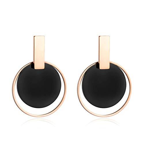 QIN Pendientes Jiagu Black Disc & Rose Gold para la joyería de joyería de Acero Inoxidable exagerado de Las Mujeres Moda Moda Moda