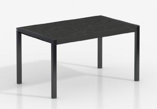 MESA EXTENSIBLE CONCEPT - Encimera Porcelanico Basalto/Patas Negro, 110X70 cms