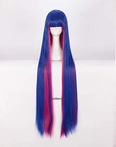 Bragas y medias con liguero, medias de anarqua, peluca de cosplay, 100 cm de largo, peluca sinttica resistente al calor, mezclada azul, rosa, gorro de peluca