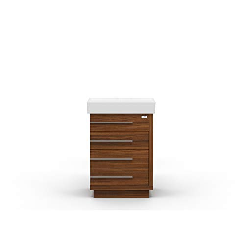 Casa Mare 32 Inch Single Sink Bathroom Vanity   Made of Wood   Soft Closing Drawers   Modern European Wood Cabinet & Ceramic Sink Combo Set   Free Standing   Contemporary   Matte Walnut