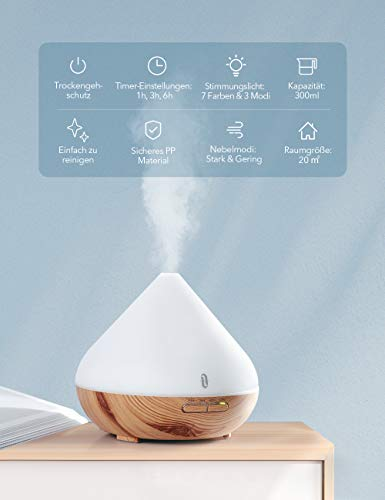 Aroma Diffuser 300ml TaoTronics Luftbefeuchter Oil Düfte Humidifier Holzmaserung LED mit 7 Farben für Yoga Salon Spa Wohn-, Schlaf-, Bade- oder Kinderzimmer Hotel - 5