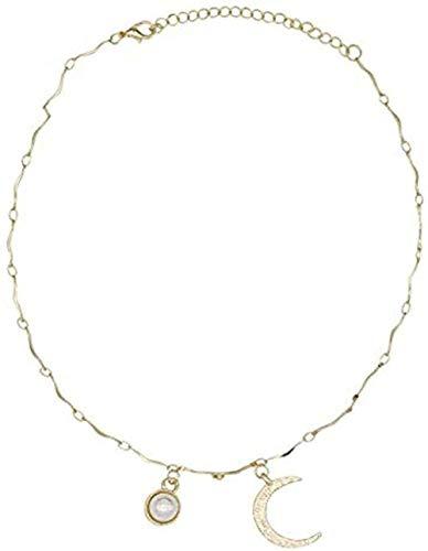 Yiffshunl Collar Luna Clavícula Corta Cadena Colgante Collar Regalo para Mujeres Hombres Niñas Niños