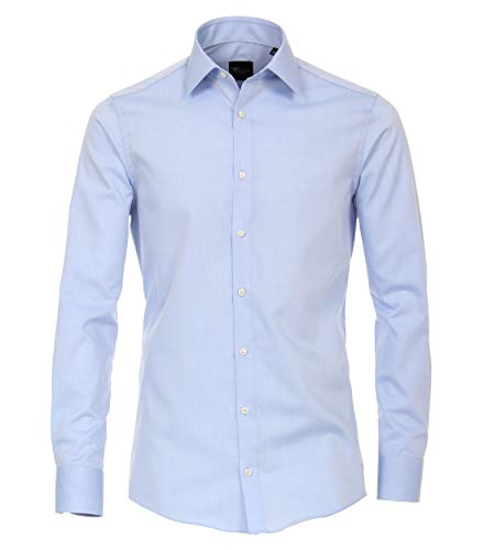 Venti Herren Businesshemd extra Langer Arm 72cm Uni Modern Fit helles Mittelblau 42