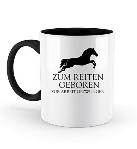 PlimPlom Zum Reiten Geboren Kaffeetasse Pferde Reitsport Tasse Spaßgeschenk Spruch Geschenk Idee - Zweifarbige Tasse -330ml-Schwarz