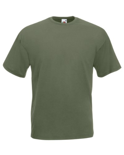 Fruit of The Loom Valueweight - Camiseta para hombre, talla L, color blanco verde oliva X-Large