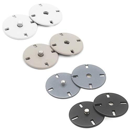 スナップボタン コートボタン ジャケットボタン 隠しボタン 手芸 裁縫 服 ハンドメイド ホワイト グレー ブラック 21mm 12.5mm (白, 小:12.5mm)
