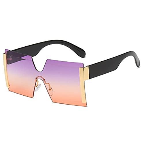 FDNFG Moda de Gran tamaño Cuadrado Gafas de Sol sin llanta de Sol Mujer Plana Plana Grandes Gafas de Sol Hembra de una Pieza Gafas de Sol (Lenses Color : Gold f Purple Red)