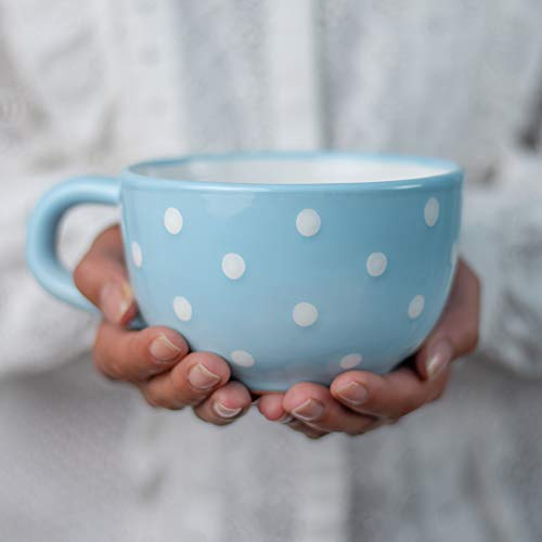 City to Cottage® - Keramik XXL Tasse 500 ml | Kaffeebecher | Hellblau und Weiß | Polka Dots | Handgemacht | Keramik Geschirr | Große Tasse