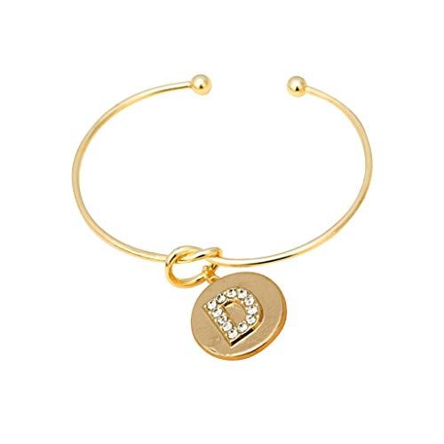 Yvelands Damen Armband Diamant Alphabet geknotet Armband Freundinnen Geburtstag Schmuck 26 Buchstabe 12 konstellation