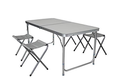 LINDER EXCLUSIV LEX Camping-Set: 120 x 60 cm Campingtisch mit 4 Hockern im praktischen Transportkoffer mit Verstellbarer Tischhöhe