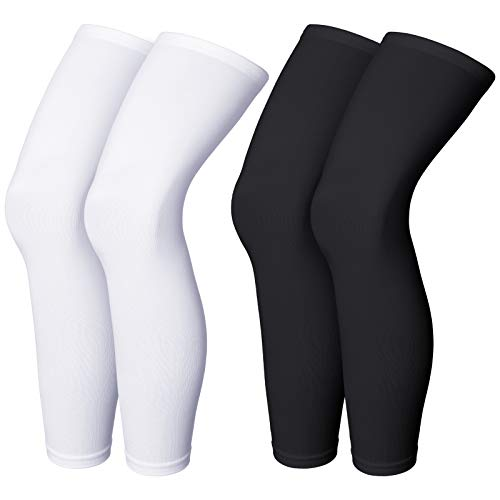 Compression Leg Sleeve Full Length Leg Sleeves Sports Cycling Leg Sleeves for Men Women, Knee, Thigh, Calf, Running, Basketball (4 Pieces,Black and White,XL)