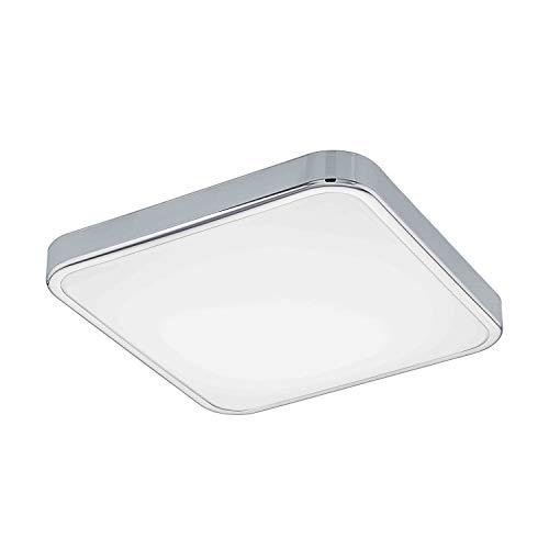 EGLO LED Badezimmer-Deckenlampe Manilva 1, 1 flammige Deckenleuchte, Material: Stahl und Kunststoff, Farbe: chrom, weiß