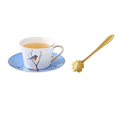 kerryshop Tazas para niños Taza, Taza De Té De China China, Euro Y Platillo Azul China China Taza De Té, Patrón De Pájaro De Árbol Y Decoración De Borde Dorado para Café, Té, 6 Taza de té