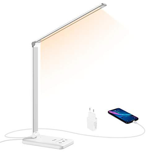 Lámpara LED Escritorio, Flauno Flexo LED Escritorio Regulable con Puerto USB, 5 Modos, 10 Niveles de Brillo, Temporizador, Función de Memoria, Protege los Ojos (Blanco plateado)