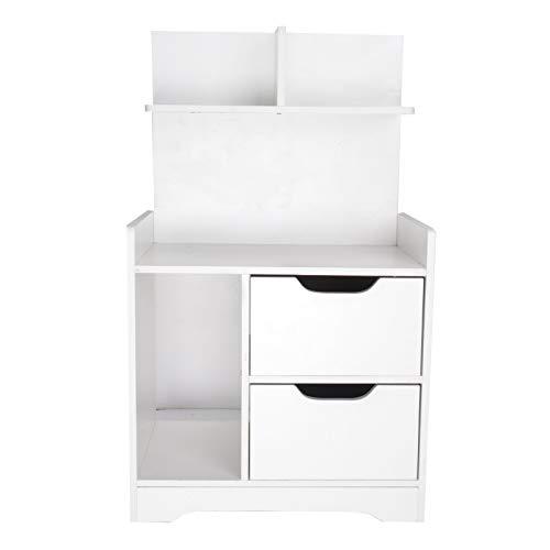 YORKING Modern Bedside Table Drawer Cabinet Bedroom Furniture Storage Nightstand Shelf Wooden Two Drawer Bedside Table White