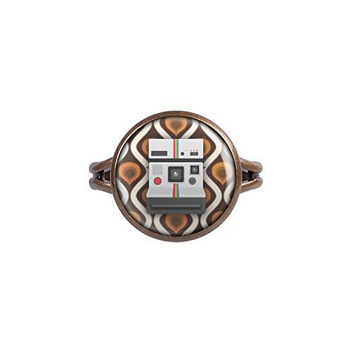 Mylery Ring mit Motiv Sofortbild-Kamera Retro Vintage 70s 80s Bronze 14mm