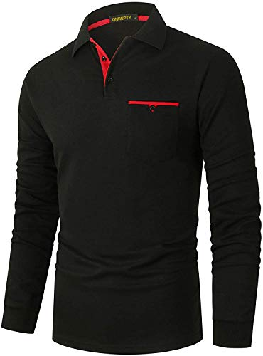 GNRSPTY Polo Manga Larga Hombre Algodon Slim Fit Camisetas Colores de Contraste con Bolsillos Reales Basic Golf Deporte Negocios T-Shirt Top,Negro,M