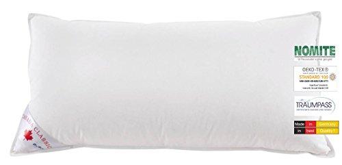 wohnTRAUM 24 3-Kammer-Kopfkissen Canada Dream Natur PUR - Made in Germany 40x80 cm weiße Neue Daunen und Federn Klasse I - Öko-Tex-100, NOMITE, Traumpass
