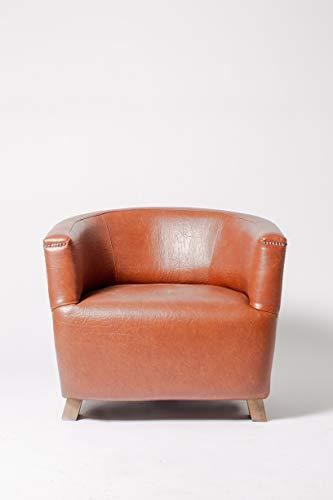 ADDECOR - Butaca Bertie - Hecha en Madera Maciza Medidas 84 × 58 × 58 cm - Tapizado Color Marrón - Silla Vintage - Ideal para Hostelería - Muebles Auxiliares - Silla de Diseño