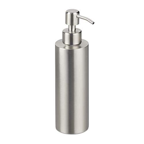 Relaxdays Seifenspender, nachfüllbar, Bad, WC, Küche, Pump Flüssigseifenspender, gebürsteter Edelstahl, 300 ml, Silber, 1 Stück