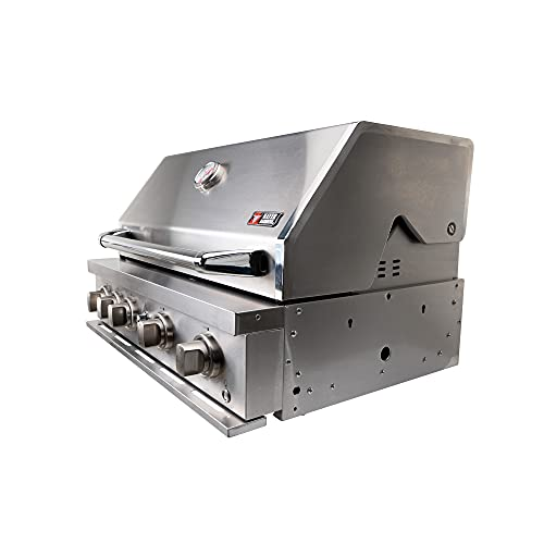 Mayer Barbecue ZUNDA Einbau-Gasgrill MGG-441 für Outdoor-Küchen, 100% Edelstahl, 4 Hauptbrenner, 1 Backburner, 80 x 52,5 x 64,5 cm (B x H x T)