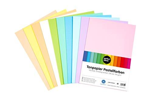 perfect ideaz 100 Blatt DIN-A4 Pastell Ton-Papier bunt, buntes Ton-Zeichen-Papier, 10 verschiedene Light-Farben, 130g/m², Bastel-Bogen farbig, Zubehör zum Basteln, Material durchgefärbt, DIY-Bedarf