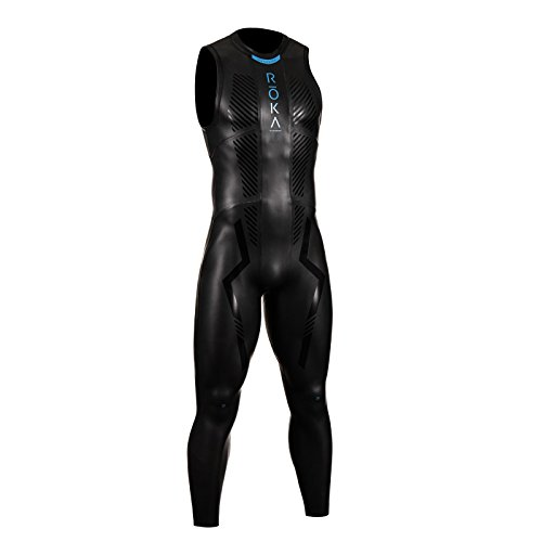 ROKA Maverick Comp II Sleeveless Men's Wetsuit for Swimming and Triathlons - Black/Cyan - Large/Tall (L/T)