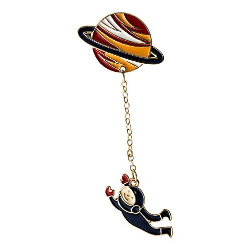 Fashion Astronaut Erde Mond Kaninchen Saturn Mars Planet Brosche Damen Herren Denim Jacke Revers Pin Mantel Kragen Abzeichen Schmuck