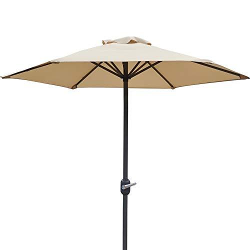 ZCJB Parasol 6,6 Pieds Parapluie de Patio avec Manivelle et 6 Nervures Robustes, Parasol Extérieur Rond pour Jardin/Pelouse/Terrasse/Arrière-Cour/Piscine/Plage, sans Base (Color : Beige)