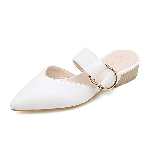 Sandalias De Tacón Cuadradas para Mujer Zapatos De Verano con Tacón Medio Sin Cordones Zapatos De Tacón Cerrado con Cordones Casual Vacaciones Boda Señoras Zapatillas Puntiagudas