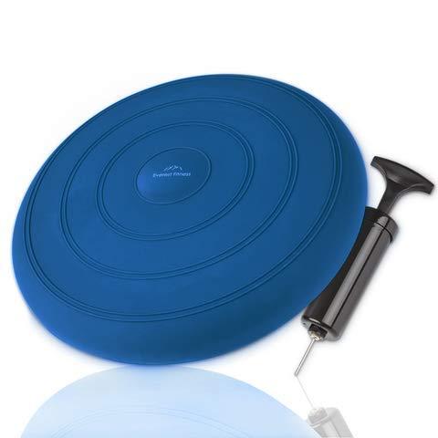 EVEREST FITNESS Luftkissen, luftgefüllt, Ø 33 cm, dunkelblau, inklusive Luftpumpe - Balance-Kissen, Gleichgewichts-Kissen, Trainings-Kissen, Sitz- und Rückenkissen
