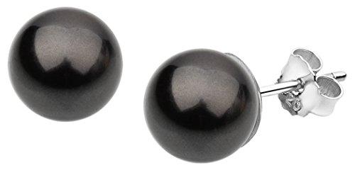 Nenalina Silber Damen-Ohrringe Ohrstecker mit Swarovski Perlen 8 mm Schwarz für Frauen, 925 Sterling Silber, Ohrstecker für Damen mit Perlen, Hochzeit Ohrringe, 842401-197