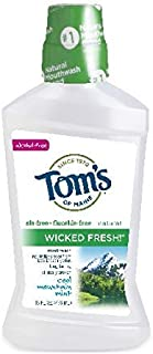 Tom's of Maine Long Lasting Wicked Fresh Cool Mountain Mouth Wash Bottle, Mint, 16 Ounce ( Pack of 6 )