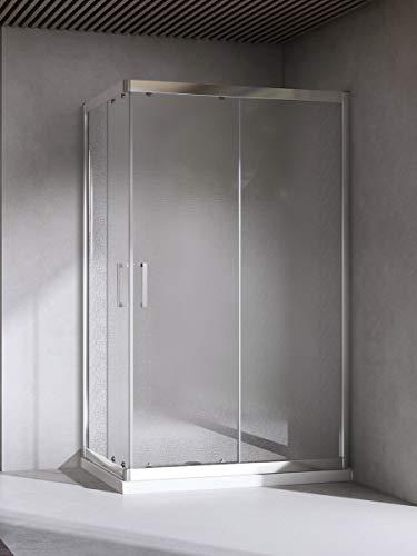 Yellowshop - Box Cabina Doccia Bagno Rettangolare, Dimensioni: 70X120 cm, Cristallo 6mm : Puntinato Opaco
