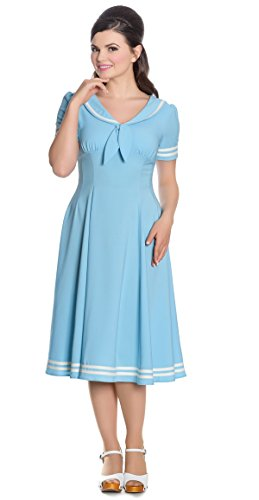 Hell Bunny Damen Kleid Ambleside Matrosen Kleid Blau XS