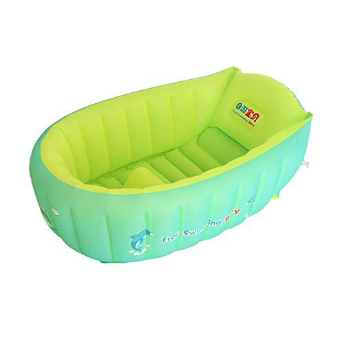YAAVAAW Aufblasbare Baby Badewanne,Tragbare aufblasbare Badewanne,Anti-Rutsch Pool faltbar Reise-Badewanne für unterwegs,Baby Schwimmbecken Mit Weichem Kissen-Zentralsitz (für 0-3 Jahre)