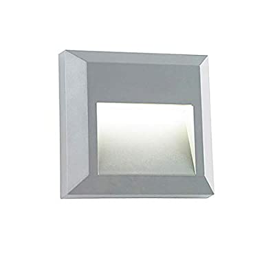 Step LED Deck Light ZONK Outdoor Indoor Wall Mount Stair Lights Waterproof Square Landscape Stairway Lighting, 120V, Grey