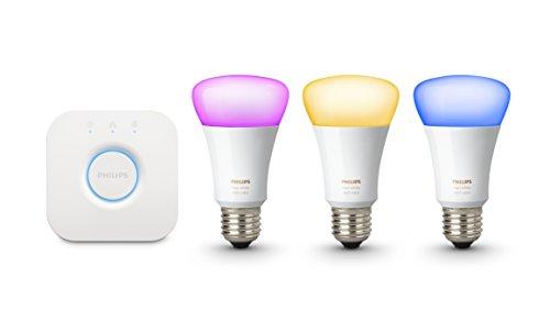 Philips Hue Ledlampen, wit en kleur, startersset, 3x Philips Hue E27 lampen, 1x Hue Bridge 2.0, werkt met Amazon Alexa
