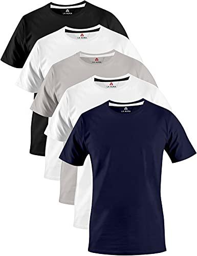 LA AURA® Herren T-Shirt Set (5er Pack) | 100% Baumwolle | mit Rundhalsausschnitt | einfarbig | Slim Fit | Perfekt für Sport, Freizeit oder Büro