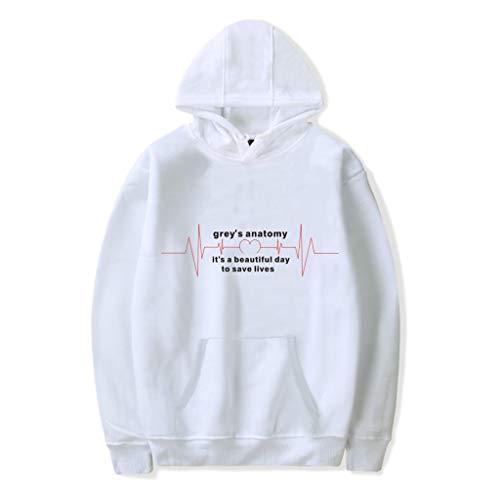 U CAN Grey's Anatomy Hoodies Mit Kapuze Runde Krawatten-Sweatshirt-Pullover