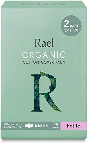 Rael - Almohadillas menstruales de algodón orgánico - Servilletas sanitarias ultra finas y ligeras naturales con alas (pequeña)(paquete de 2)